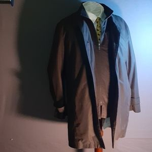 42R lightweight brown overcoat w/ removable vest
